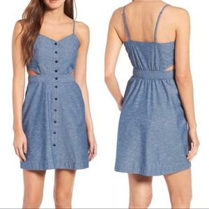 Madewell Chambray Cutout Cami Mini Dress Blue 0